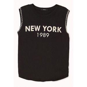 "Forever21 Beaded ""New York"" Muscle Tee"